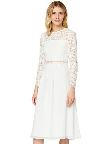 Amazon-Marke: TRUTH & FABLE Damen Midi A-Linien-Kleid aus Spitze, Weiß (Weiß), 44, Label:XXL