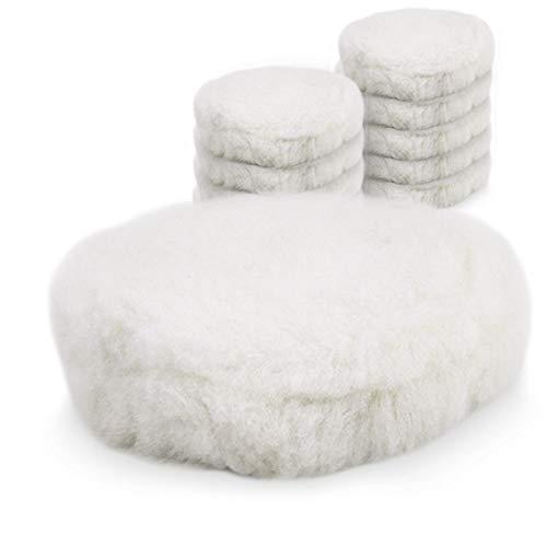 BITUXX® 125mm Wollhaube Polierpad Wollpad Polierfell Wollpuffer Polierhauben Lammfell für Autopoliermaschinen (10x Wollhaube)