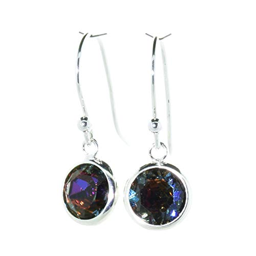 pewterhooter 925 Sterling Silver drop earrings for women made with sparkling Volcano crystal from Swarovski in a silver channel setting. Gift box. Made in the UK
