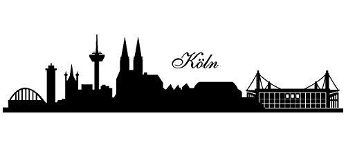 Samunshi® Wandtattoo Köln Skyline Stadion in 6 Größen und 19 Farben (70x15,9cm schwarz)