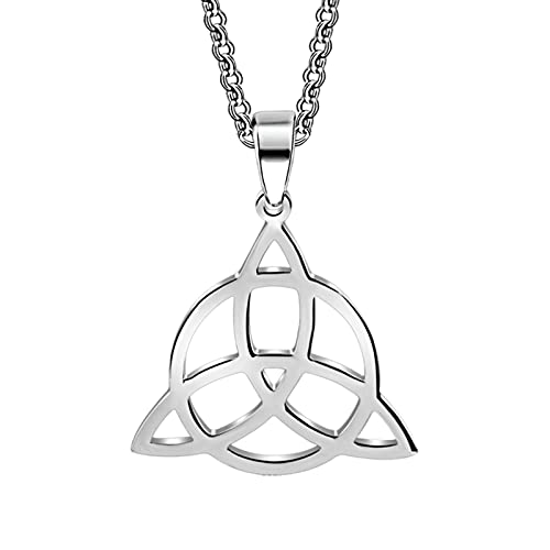 HAWFHH Joyas Vikingas para Hombres, Celtic Trinity Knot Totem Amulet Collar Joyas, Acero Vintage para Hombres Joyas Originales, Plata