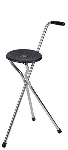 Stock-Fachmann® Faltbarer Gehstock mit Sitz Begleitsitz Gehhilfe Mit Stuhl Aus Aluminium Farbe Schwarz