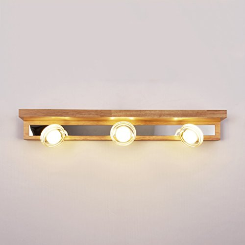 Miroir lumière LEDsimple, salle de bains mode LED miroir de salle de bain phares lampe solide nordique commode en bois de lampe de chevet murale