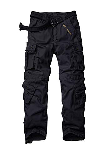 KOCTHOMY - Pantalones cargo ligeros multibolsillos resistentes al desgarro para hombre, pantalones de trabajo tácticos al aire libre Negro 42