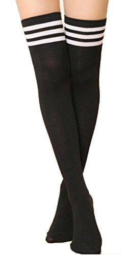 EROSPA® Knie-Strümpfe mit 3 Streifen Overknee Schüler Damen Mädchen Cheerleader College (Schwarz/Weiß)