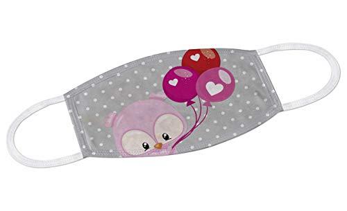 CreaDesign, Kinder Erwachsene Behelfs-Mundschutz Maske waschbar Größe M, Maske Stoff waschbar Motiv Eule Luftballon, Abmessung Mund Nasebereich ca. 16 x 11,5 cm