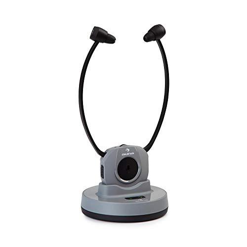 auna Stereoskop Funk-Kinnkopfhörer kabellos, 2,4 GHz, Mikrofonmodus zur Gesprächsverstärkung, integrierter 3,7 V, 380 mAh Lithium-Ionen-Akku, 20 m Reichweite, Frequenzband: RF, inkl. Zubehör, grau