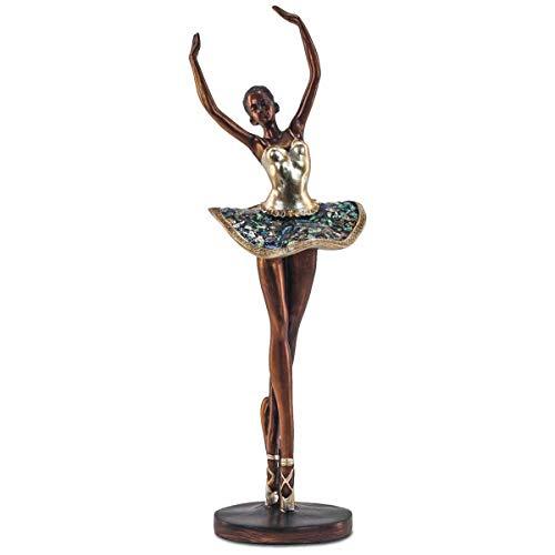 CAPRILO. Figura Decorativa Multicolor de Resina Bailarina Ballet con Base. Adornos y Esculturas. Decoración Hogar. Regalos Originales. 12,50 x 12 x 42 cm.