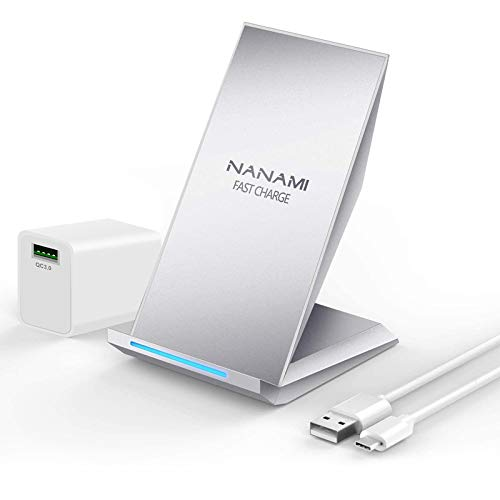 Fast Wireless Charger, NANAMI Qi Certified Charging Stand [with QC3.0 Adapter],7.5W Compatible iPhone SE/11/11 Pro/11 Pro Max/XS Max/XS/XR/X/8 Plus,10W for Samsung Galaxy S20/S10/S9/S8/S7/Note 10+/9/8