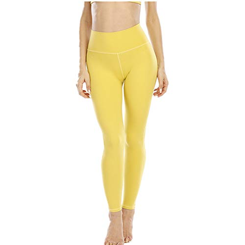 N\P Slim and Hip Lifting Fitness Pants Women's Elastic Tight Sports Leggings Running Moisture Absorption and Sweat Wicking Yoga Suit for Autumn and Winter Yellow