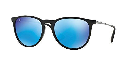 Ray-Ban RB4171 ERIKA Sonnenbrille für Damen, Schwarz (Schwarz/Hellgrün Spiegel Blau), 54 mm