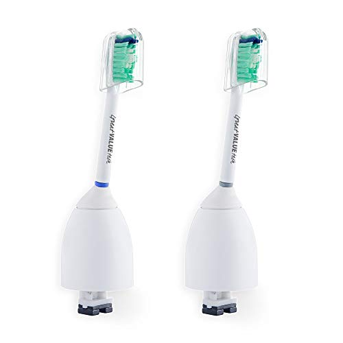 Great Value Tech Replacement Toothbrush Heads for Philips Sonicare E-Series Toothbrush fits Elite, Essence, Advance, CleanCare, Xtreme, eSeries, HX7022, HX7023, HX7026 (2-Pack)