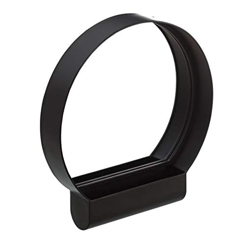 Tousmesmeubles Miroir Rond Métal Noir - MOMBIN - L 50 x l 8.5 x H 53 - Neuf