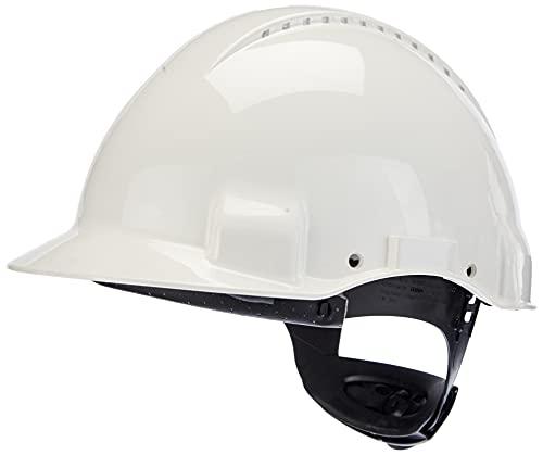 Casque de sécurité 3M™ G3000 blanc, ventilé, avec harnais à crémaillère et basane synthétique