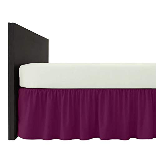 Mfabrics Bettvolant aus Baumwollmischgewebe, einfarbig, pflegeleicht, maschinenwaschbar, erhältlich in 20 Farben, 40 cm Rüschen, Baumwollmischung, aubergine, King Size