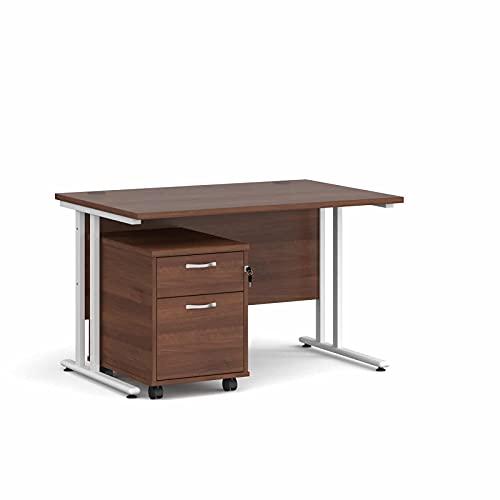 Maestro - Juego de 25 escritorios, 800 mm de profundidad, recto, pedestal móvil con 2 cajones con patas voladizas, color blanco, nogal, 120 cm