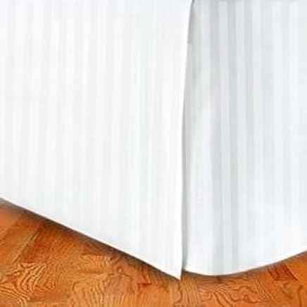 MARRIKAS 300TC Egyptian Cotton QUEEN Bed Skirt WHITE Stripe