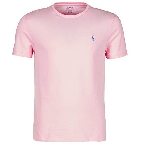 Polo Ralph Lauren Mod. 710671438 Camiseta Cuello Redondo Algodón Custom Slim Fit Hombre Rosa S