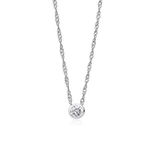 Miore Kette Damen 0.42 Ct Diamant Halskette mit Anhänger Solitär Diamant/Brillant Kette aus Weißgold 14 Karat / 585 Gold, Halsschmuck 45 cm lang