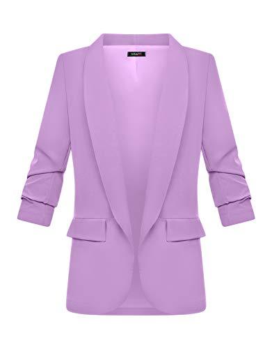 Zarlena Damen Blazer 3/4-Ärmel elegant lang Reverskragen Jacke Sakko Anzug Lila M