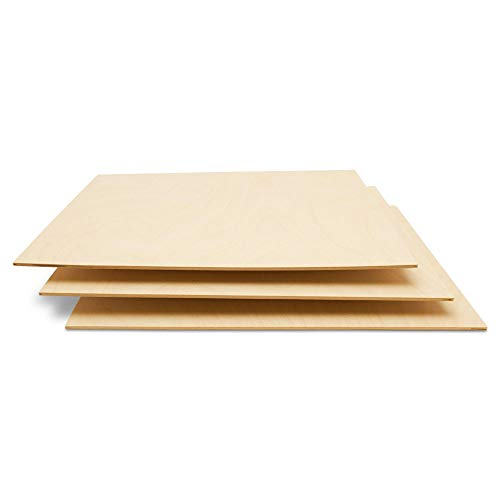 Baltic Birch Plywood, 3 mm 1/8 x 12 x 12 Inch Craft Wood, Box of 45 B/BB Grade Baltic Birch Sheets, Perfect for Laser, CNC Cutting and Wood Burning, by Woodpeckers