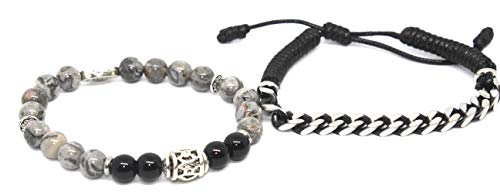 Pierre dubbele armband verankering & balans tussen obsidiaan en jaspis.