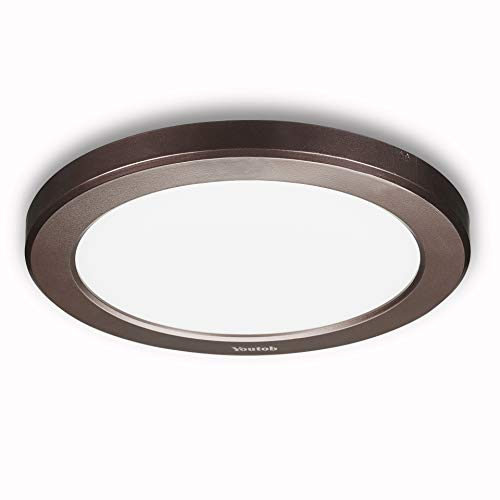 Youtob LED Ceiling Light Flush Mount with Adjustable 3 Colors, 15W 1500lm Round Lighting Fixture for Kitchens, Closets, Hallways, Stairwells, Bedrooms(3000k/4000k/5000k Available) (Bronze)