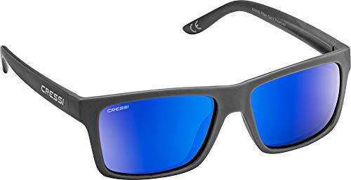 Cressi Bahia Sunglasses Gafas De Sol Deportivo, Unisex adulto, Carbón/Azul Lentes espejados