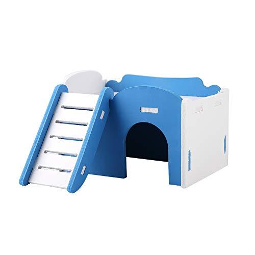 Escondite de Hámster Casa de Cabaña Mascota de Madera Castillo de Doble Capa con Escaleras Ropa de Cama para Escalar Ratas Jaula Dientes Cuidar Juguetes Hámsters Sala de
