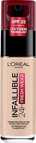 L'Oréal Paris Make-up designer Infallible 24H Fresh Wear Base de Maquillaje de Larga Duración (Tono 015 Porcelaine), 30 ml