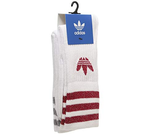 adidas Mid Cut Glitter Crew Sock 2pp Socks, Mujer, White/Energy Pink f17/Silver Met, KXXL
