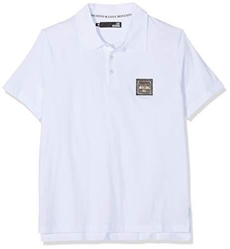 Love Moschino Herren Logo Badge Short Sleeve Polo Poloshirt, Weiß (White A00), Large (Herstellergröße: L)