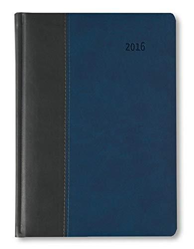 Buchkalender Premium Ocean schwarz/blau 2016 - Bürokalender A5 / Cheftimer A5 - 1 Tag 1 Seite - 416 Seiten