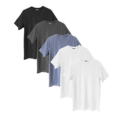 Pack 5 Camisetas Manga Corta Mix Algodón con Cuello Pico Básico para Hombre (Pack Multicolor, L)