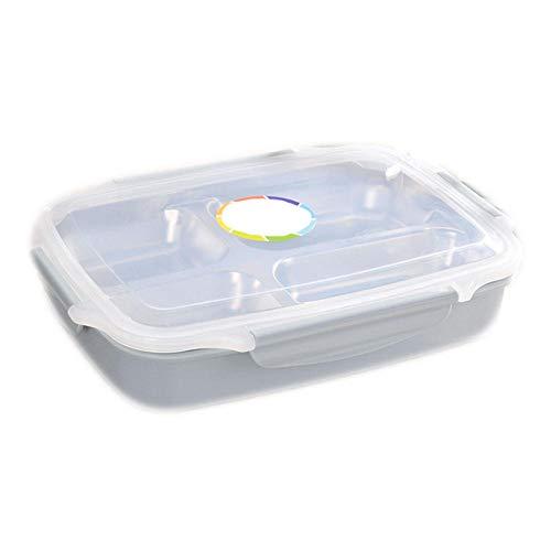 ADXD grote lunchbox met scheidingswand, roestvrij staal, met 4 vakken, lekvrij en Bento lunchbox, BPA-vrij, voor kinderschool en volwassenenkantoor, wandelen