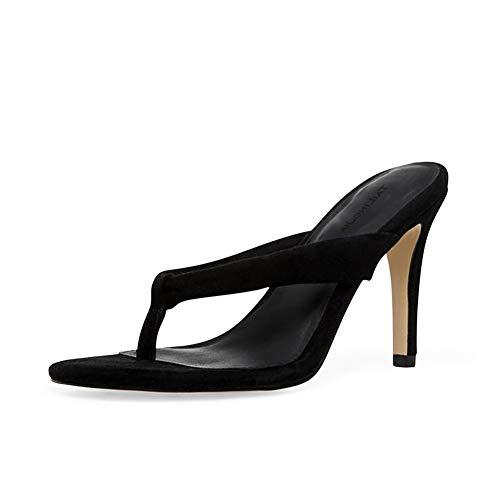 Stiletto Pumps Flip Flops Sexy Damenschuhe MWOOOK-884 Sommer Zehentrenner PU Leder Klassisch Hochzeit Abend Schuhe,Black,37