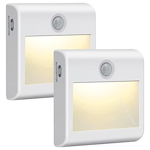 Luce Notte LED Batteria, 2 Pezzi Luce Notturna con Sensore di Movimento, 3 Modalità Illuminazione, Luci Notte Bambini a Magnete Incorporato per Armadio, Scale, Bagni, Corridoi, Cucina, Garage