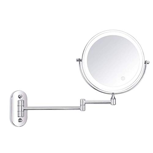 SYDDP Cosmetic Vanity Mirror Touch Adjustment LED 8 Inch Cosmetic Mirror Folding Double Sided 10X Magnifying Wall Mounted Beauty Mirror Best Luxury Quality LED