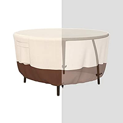 Tuyeho Patio Round Table Cover Dia 48 x 26 inch, 600D Heavy Duty Outdoor Dining Table and Chairs Set Cover, Waterproof & Weather Resistant for Your Furniture Set (Beige & Brown)