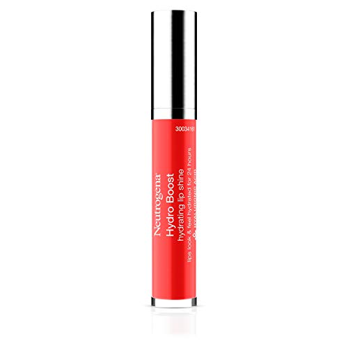 Neutrogena Hydro Boost Moisturizing Lip Gloss, Hydrating Non-Stick and Non-Drying Luminous Tinted Lip Shine with Hyaluronic Acid to Soften and Condition Lips, Bright Poppy Color, 0.10 oz
