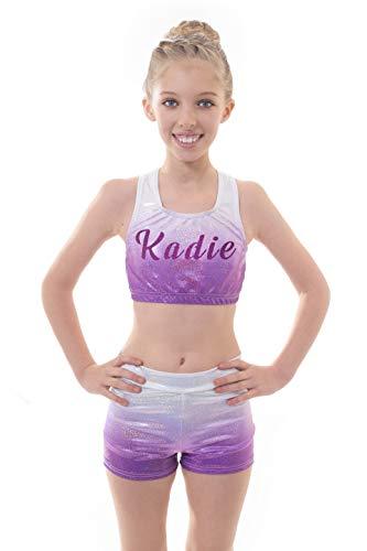Velocity Dancewear Ensemble haut court et short pour fille Idéal pour la gymnastique et l'entraînement, Enfant, Argent à violet., 5-6 ans