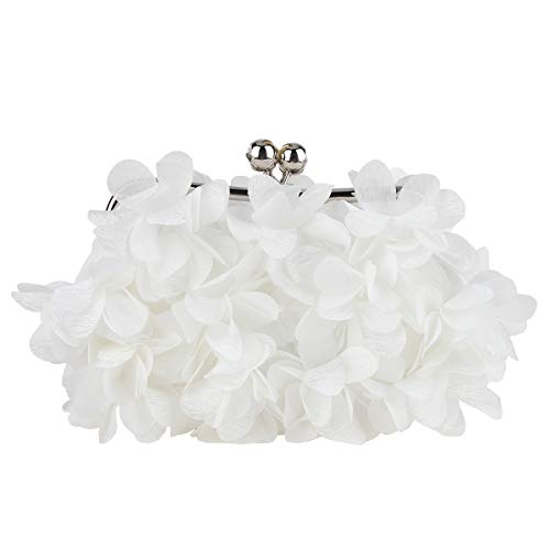 Fawziya Floral Clutch Purses For Women Satin Evening Bag-White