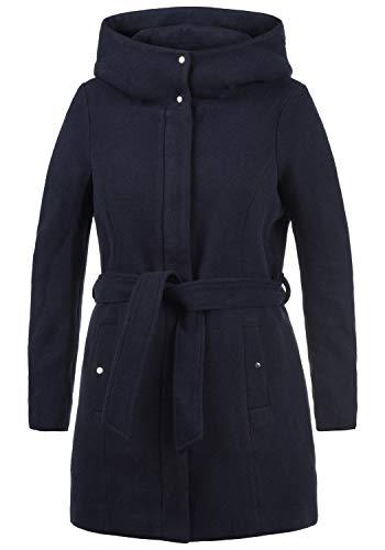 VERO MODA Wollni Damen Winter Jacke Wollmantel Winterjacke Mantel mit Kapuze und Gürtel, Größe:M, Farbe:Night Sky