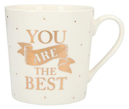 Depesche 5909.022 - Tazza con manico, in porcellana, 300 ml, con scritta 'You are the best', colore: oro