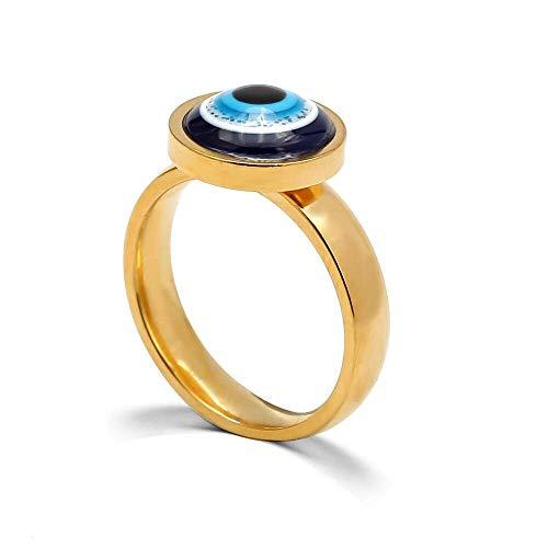 Anillos de boda FashionPunk, anillo con cuentas de mal de ojo, joyería de moda para mujeres y niñas, anillo de color dorado vintage, joyería de aleación