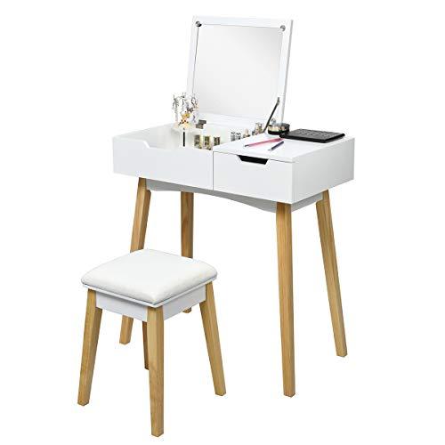 COSTWAY Tocador de Maquillaje con Espejo y Taburete Mesa Escritorio Mesa Cosmética para Dormitorio Salón Blanc