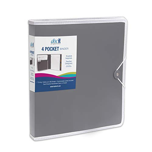 DocIt 4 Pocket Binder, Multi Pocket Folder and 1-inch 3 Ring Binder, Perfect for School, Office and Project Organization, Holds 300 Letter Size Papers, Grey (00939-GY)