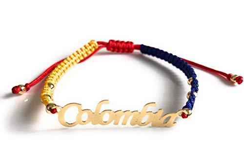 Colombia Flag Bracelet Adjustable Macrame Tricolor Thread