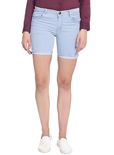 Broadstar Women Denim Light Blue Shorts-34