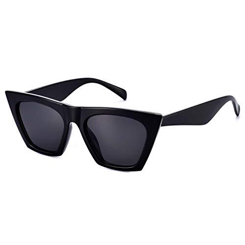 Mosanana Square Cateye Sunglasses for Women 2020 Trendy Fashion Black Retro Vintage Cat Eye Lady Shade Popular Sharp angular chunky rectangle skinny cool trending cute clout funky stylish small unique